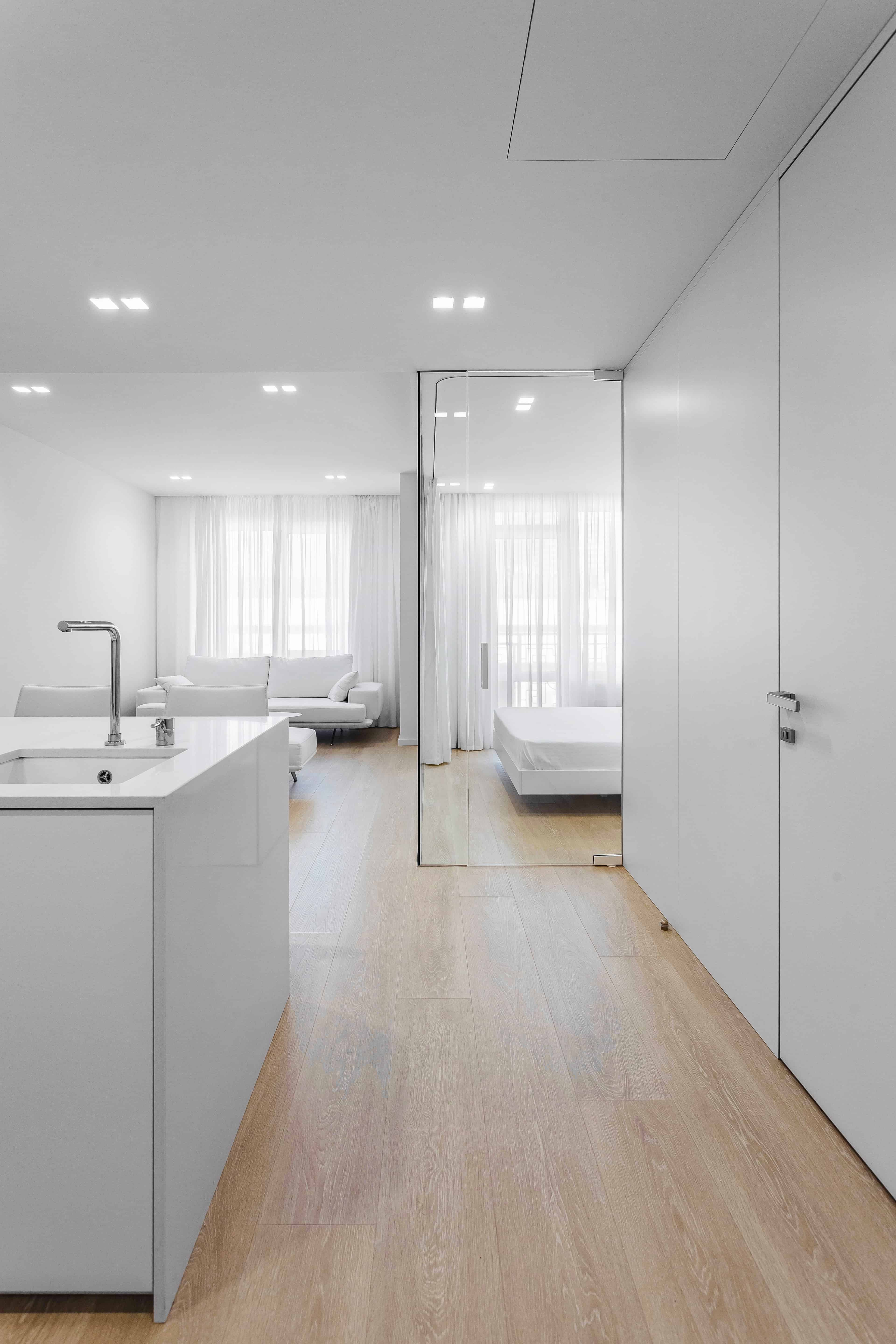 white minimalist living interior design