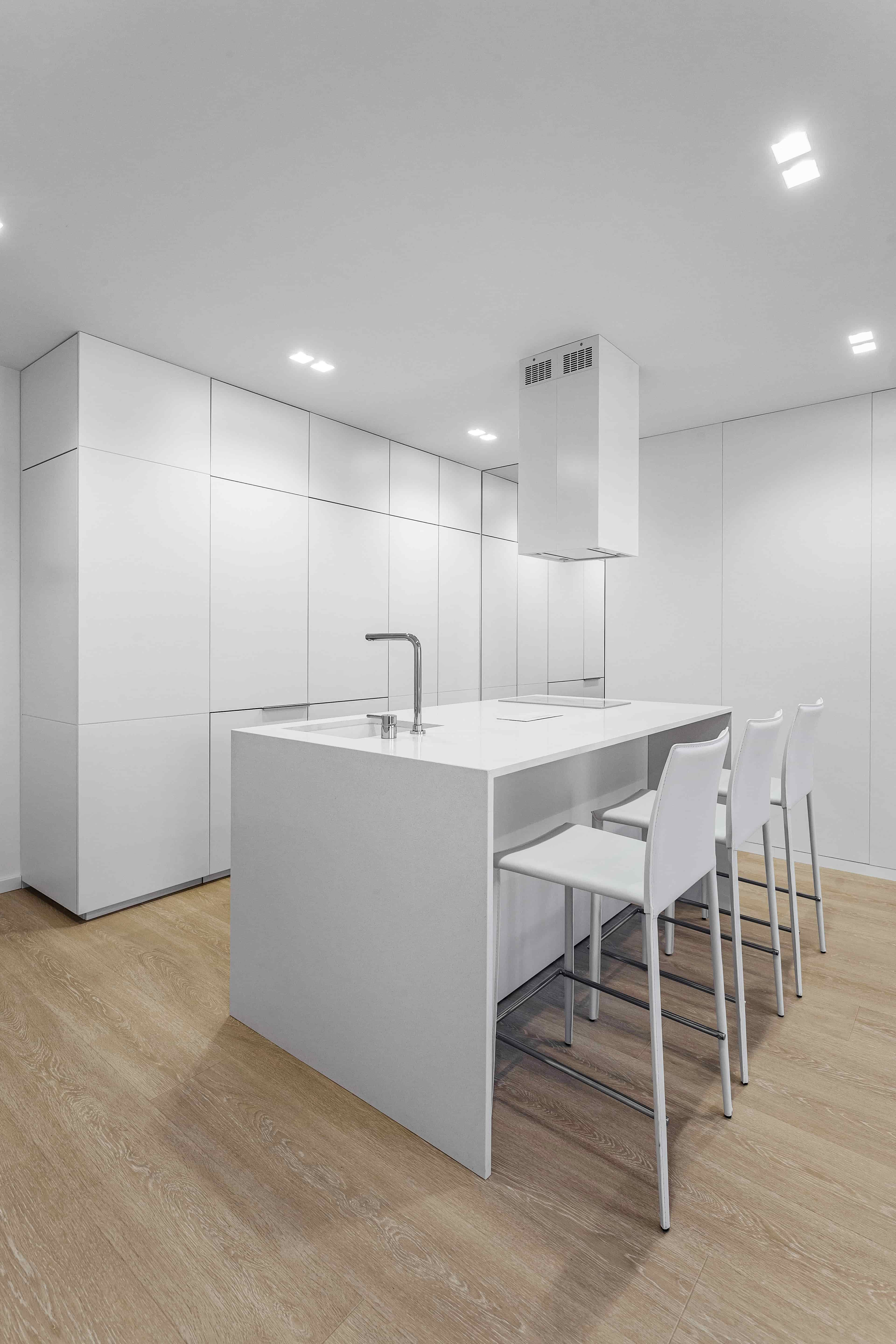 white minimalist modern kitchen island design