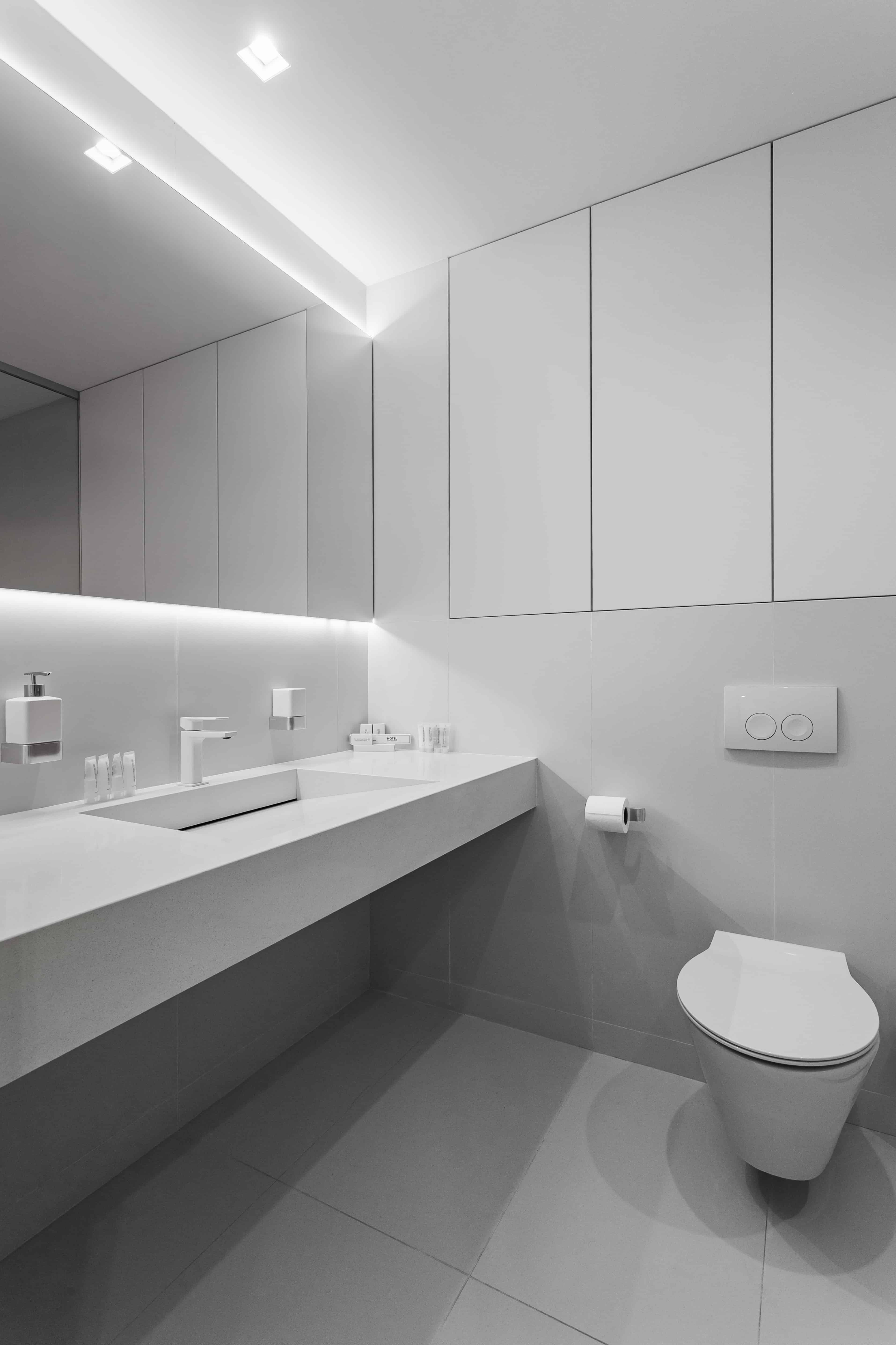 white minimalist modern bathroom design