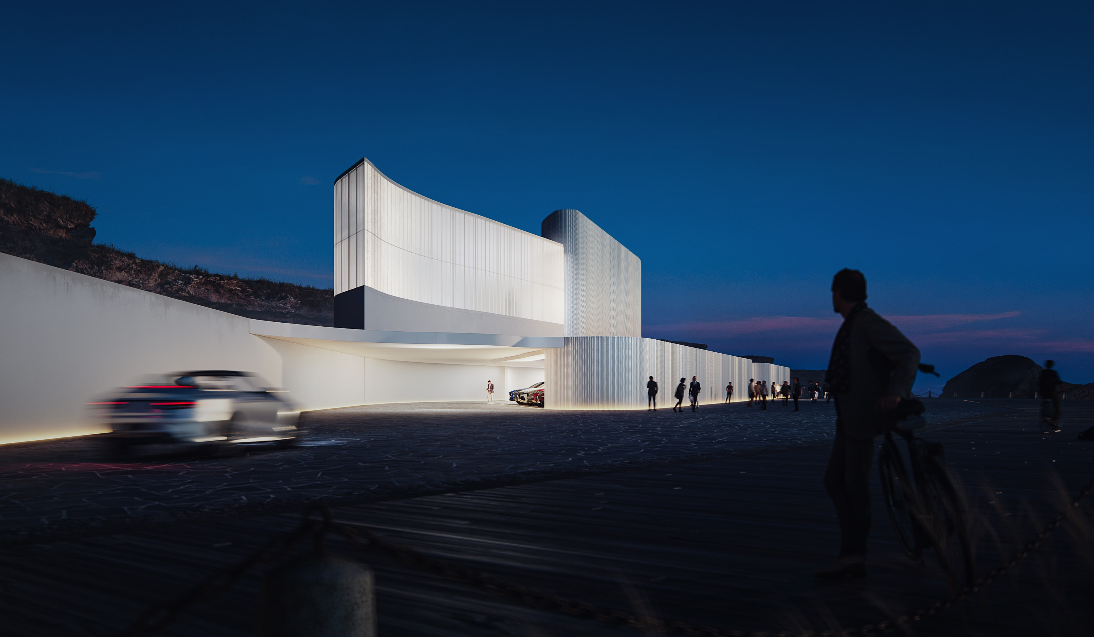 modern white museum building night view